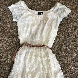Dresses & Skirts - White /cream lace dress with belt